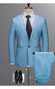 男性用 ワーク レギュラー スーツ, ソリッド シャツカラー 長袖 ポリエステル ワイン / ライトブルー / カーキ色 XL / XXL / XXXL