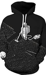 男性用 ルーズ パンツ - 幾何学模様 ブラック / フード付き / 長袖