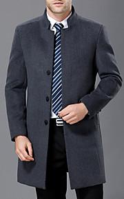 男性用 日常 冬 ロング コート, ソリッド スタンド 長袖 ウール ブルー / ブラック / グレー XL / XXL / XXXL / スリム