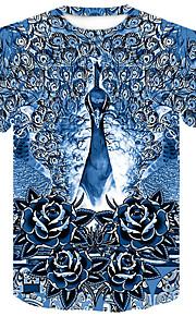 男性用 クラブ - プリント プラスサイズ Tシャツ ストリートファッション / パンク&ゴシック ラウンドネック フラワー / カラーブロック / 動物 / 半袖