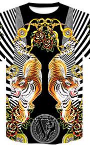 Муж. Для клуба С принтом Большие размеры - Футболка Круглый вырез Уличный стиль / Панк & Готика Цветочный принт / Контрастных цветов / Животное Тигр Черный XXL / С короткими рукавами / Лето