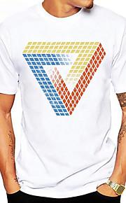 男性用 スポーツ - プリント Tシャツ ベーシック ラウンドネック グラフィック コットン ルービックキューブ