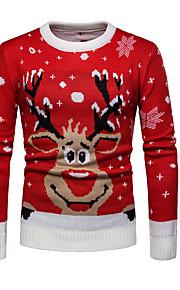 Ανδρικά Χριστούγεννα / Καθημερινά Βασικό Γεωμετρικό / Ζώο Μακρυμάνικο Κανονικό Πουλόβερ Ρουμπίνι L / XL / XXL