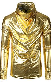 Муж. Для клуба Пэчворк Футболка Хлопок Уличный стиль / Панк & Готика Однотонный Золотой L / Длинный рукав