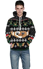 男性用 ストリートファッション パンツ - カートゥン ブラック / クリスマス / フード付き / 長袖
