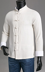 Hombre Tejido Oriental Camisa, Cuello Mao Delgado Un Color Negro XXXL / Manga Larga / Primavera / Otoño