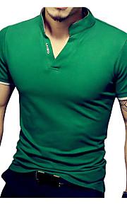 男性用 スポーツ プラスサイズ Tシャツ ベーシック スタンド スリム ソリッド コットン / 半袖