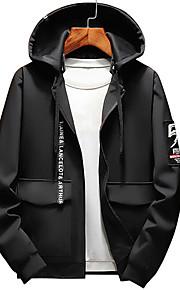 男性用 ストリートファッション プラスサイズ パンツ - ソリッド / 幾何学模様 ブラック / フード付き / 長袖