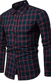 男性用 ワーク シャツ ビジネス / ベーシック チェック / スタンド / 長袖