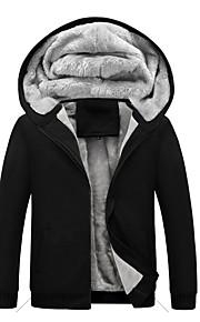 男性用 ストリートファッション プラスサイズ パンツ - ソリッド ブラック / フード付き / 長袖