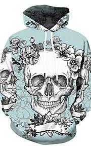 Муж. Уличный стиль / Панк & Готика Большие размеры Брюки - Контрастных цветов / 3D / Черепа С принтом Светло-зеленый / Капюшон / Спорт / Длинный рукав / Весна / Осень