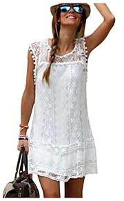 여성용 면 시프트 드레스 - 솔리드, 레이스 미니 화이트
