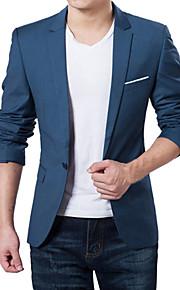 בגדי ריקוד גברים כחול כהה אפור Wine 4XL XXXXXL XXXXXXL בלייזר מידות גדולות אחיד רזה / שרוול ארוך / אביב / סתיו / עבודה / עסקים פורמלי