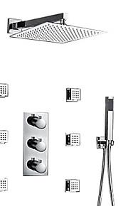 샤워 수전 - 콘템포라리 크롬 벽내장 브라스 발브 Bath Shower Mixer Taps / 황동 / 세 핸들 세 개의 구멍