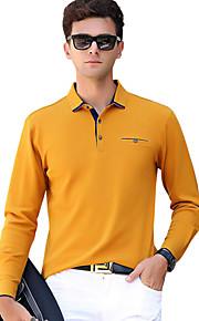 男性用 ベーシック Polo 活発的 シャツカラー スリム ソリッド コットン / 長袖