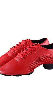 여성용 댄스 스니커즈 인조 가죽 스니커즈 두꺼운 발 뒤꿈치 주문제작 가능 댄스 신발 화이트 / 블랙 / 레드