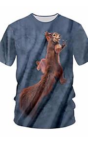 男性用 プラスサイズ Tシャツ ラウンドネック 幾何学模様 / カラーブロック / 半袖
