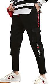 男性用 ストリートファッション プラスサイズ チノパン / カーゴパンツ パンツ - ソリッド / 幾何学模様 ブラック