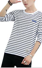 Муж. Футболка Хлопок, Круглый вырез Активный / Классический Полоски Темно синий XXL / Длинный рукав