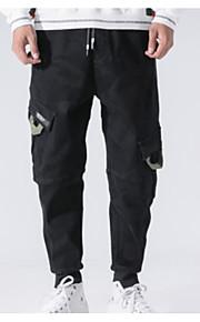 Муж. Уличный стиль Большие размеры Гарем / Брюки-карго Брюки - Однотонный Черный