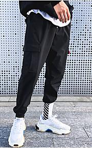 Муж. Уличный стиль Чино / Брюки-карго Брюки - Однотонный Черный
