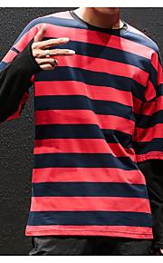Муж. Большие размеры - Футболка Хлопок, Круглый вырез Классический Полоски Черный XXXL / Длинный рукав