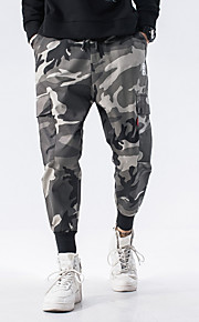 男性用 ストリートファッション プラスサイズ チノパン / カーゴパンツ パンツ - カモフラージュ グリーン