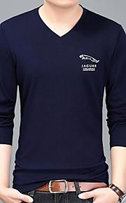 Ανδρικά T-shirt Μονόχρωμο Λαιμόκοψη V Λεπτό Μαύρο XL / Μακρυμάνικο