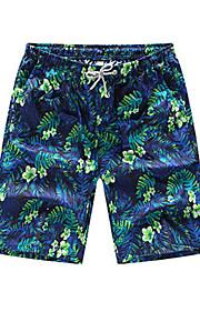 男性用 ストリートファッション プラスサイズ ルーズ ショーツ パンツ - フラワー プリント グリーン / ビーチ