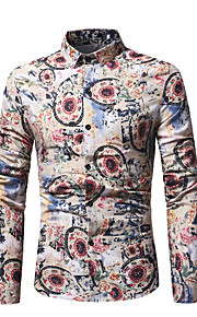 Hombre Algodón Camisa Geométrico Negro XL / Manga Larga