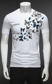 男性用 プリント Tシャツ 動物 バタフライ