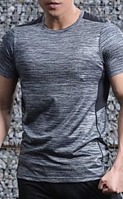 男性用 プラスサイズ Tシャツ ラウンドネック スリム ソリッド