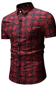 男性用 シャツ レギュラーカラー スリム 幾何学模様
