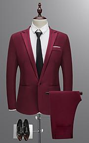 男性用 スーツ, ソリッド シャツカラー ポリエステル ワイン / ライトブルー / カーキ色 XL / XXL / XXXL