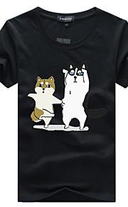 男性用 プリント Tシャツ ソリッド