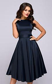 Жен. Классический Элегантный стиль А-силуэт Платье - Однотонный До колена