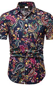 Skjorte Herre - Blomstret / Fargeblokk / Tribal, Trykt mønster Grunnleggende / Bohem Regnbue XXXL