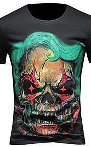 男性用 プラスサイズ Tシャツ ラウンドネック スリム スカル