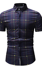 Hombre Básico Algodón Camisa Bloques Azul Piscina XL / Manga Corta