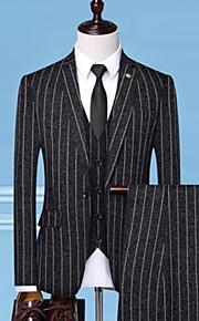 男性用 スーツ, ソリッド / ストライプ ノッチドラペル ポリエステル ブラック / ベージュ / グレー XXL / XXXL / XXXXL