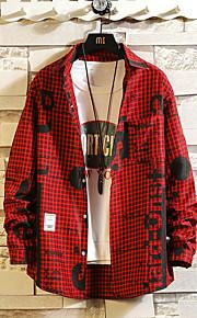 男性用 プラスサイズ シャツ スタンドカラー スリム グラフィック