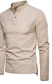 男性用 プラスサイズ シャツ スタンドカラー ソリッド