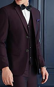 男性用 スーツ, ソリッド ノッチドラペル ポリエステル ネイビーブルー / パープル XL / XXL / XXXL