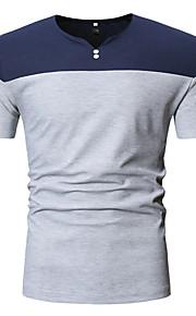 Ανδρικά Μέγεθος EU / US T-shirt Βαμβάκι Συνδυασμός Χρωμάτων Λαιμόκοψη V Patchwork Μαύρο L