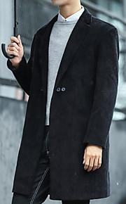 男性用 日常 秋 ロング コート, ソリッド 折襟 長袖 コットン ブラック L / XL / XXL