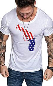 Camiseta de algodón para hombre - cuello redondo geométrico.