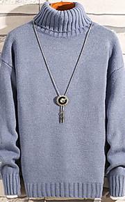 Муж. Однотонный Пуловер Светло-зеленый / Светло-синий / Светло-коричневый L / XL / XXL