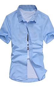 Муж. Рубашка Однотонный Темно синий L