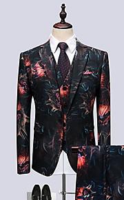 Hombre trajes, Geométrico Solapa de Pico Poliéster Negro / Rojo XXXXL / XXXXXL / XXXXXXL