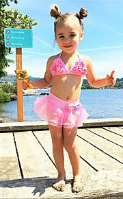 Děti Dívčí Aktivní / Cute Style Jednobarevné / Květinový Volná záda / Šněrování / Výšivka Bez rukávů Nylon Plavky Světlá růžová